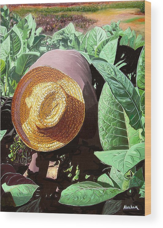 Tobacco Wood Print featuring the painting Tobacco Picker by Jose Manuel Abraham