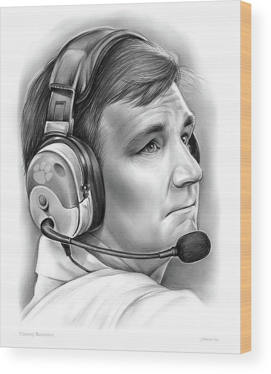Clemson Wood Print featuring the drawing Tommy Bowden by Greg Joens