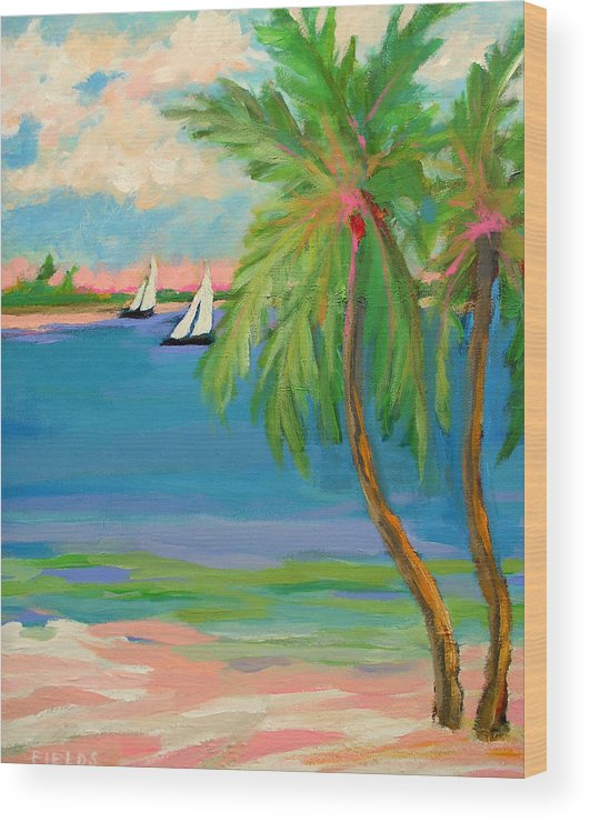 Sailboat Wood Print featuring the painting Tropical Sails by Karen Fields