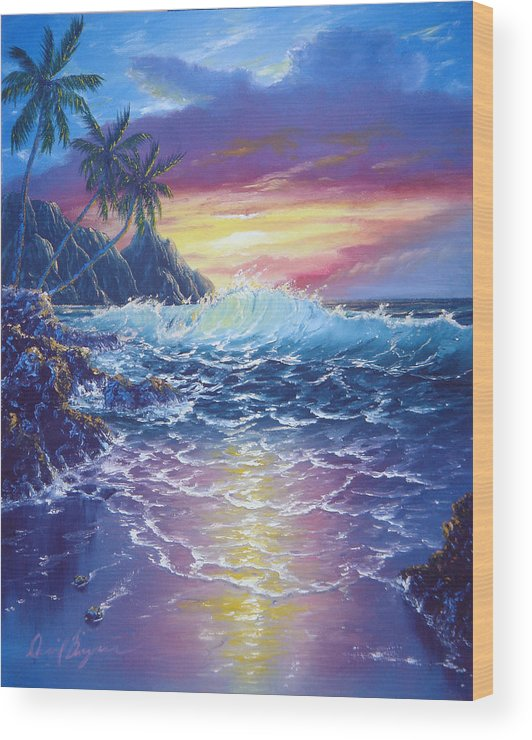 Dolphin Wood Print featuring the painting Tropical Seascape by Daniel Bergren