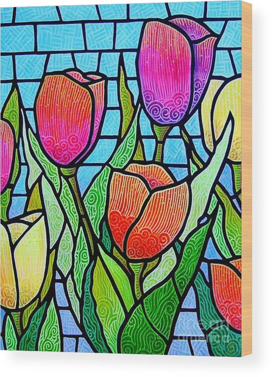 Tulips Wood Print featuring the painting Tulip Garden by Jim Harris