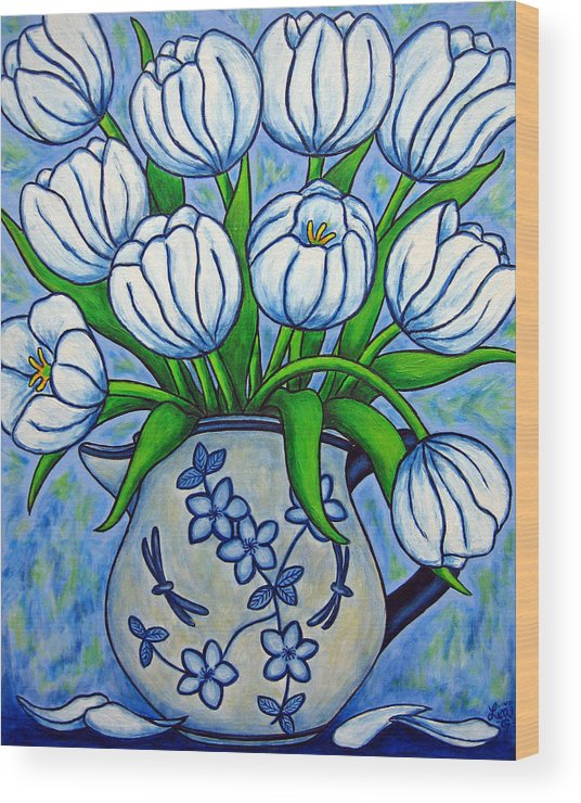 Flower Wood Print featuring the painting Tulip Tranquility by Lisa Lorenz