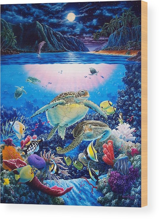 Dolphins Wood Print featuring the painting Turtle Bay by Daniel Bergren