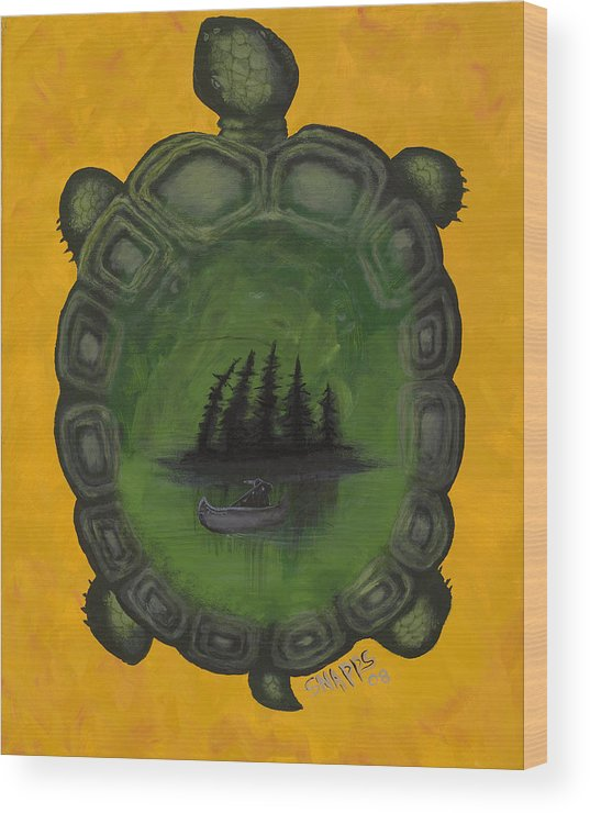 Turtle Wood Print featuring the painting Turtle Island by Derek Snapps Keenatch