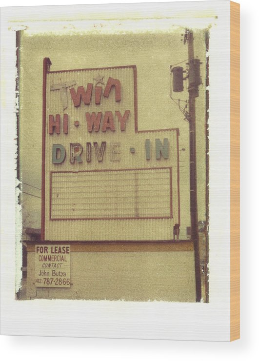 Polaroid Wood Print featuring the photograph Twin Hi-way Drive-in Sign by Steven Godfrey