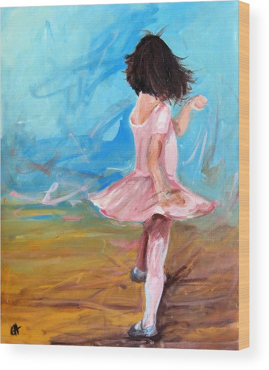 Ballet Wood Print featuring the painting Twirl by Cari Humphry