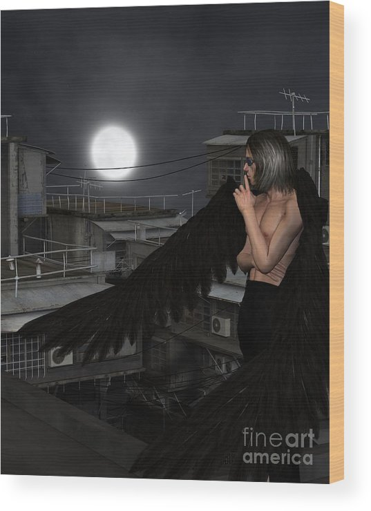 Angel Wood Print featuring the digital art Urban Guardian Angel - Standing by Fairy Fantasies