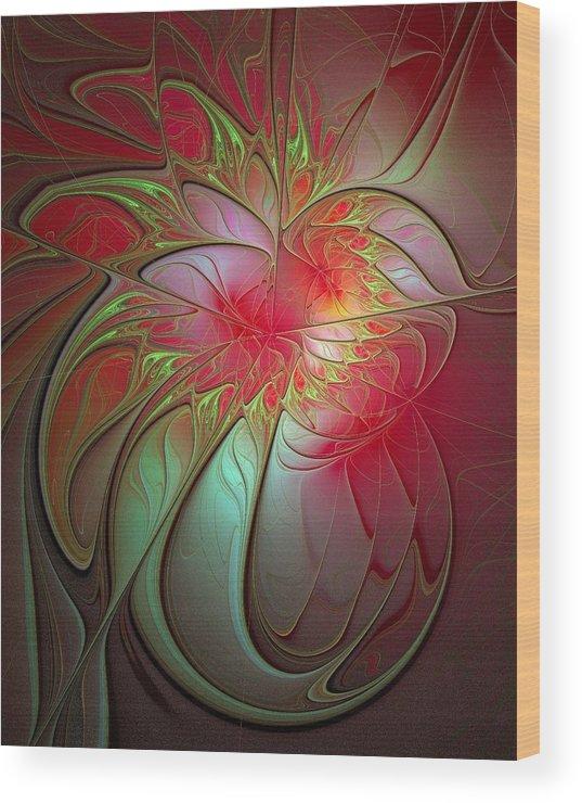 Digital Art Wood Print featuring the digital art Vase Of Flowers by Amanda Moore