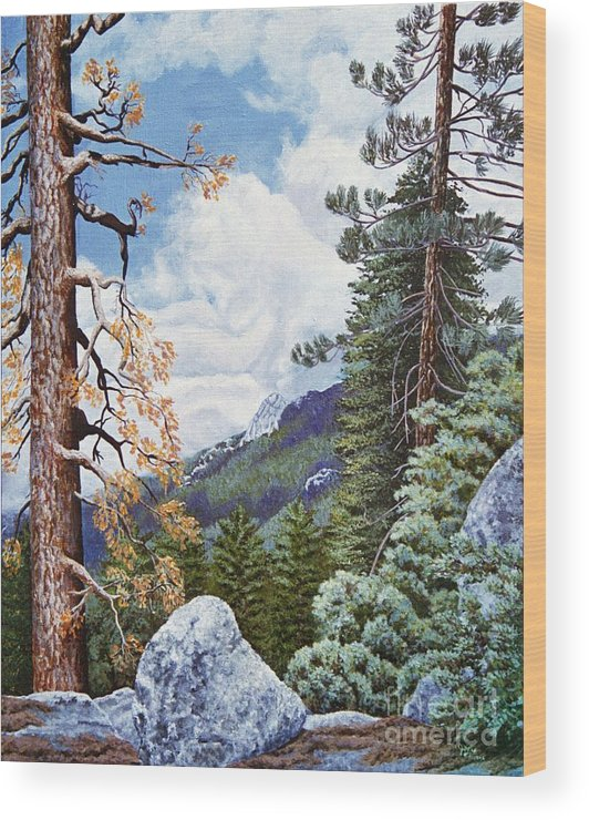 Landscape Paintings Wood Print featuring the painting View From High Castle by Jiji Lee