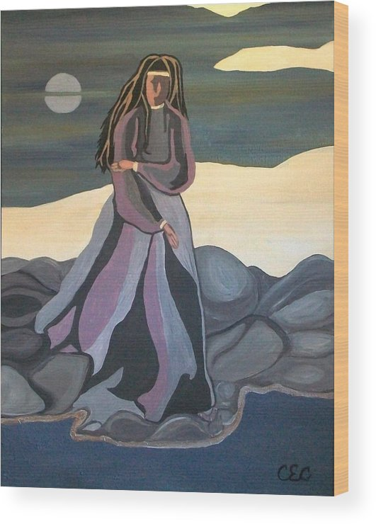 Water Wood Print featuring the painting Vigil by Carolyn Cable