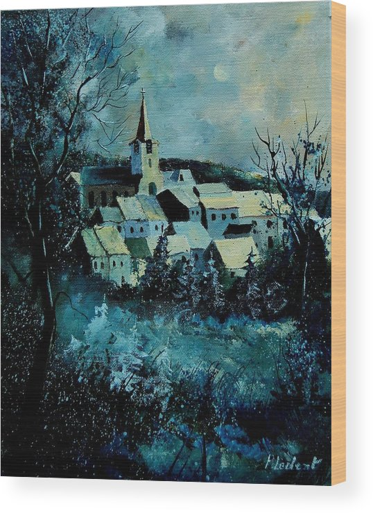 River Wood Print featuring the painting Village In Winter by Pol Ledent