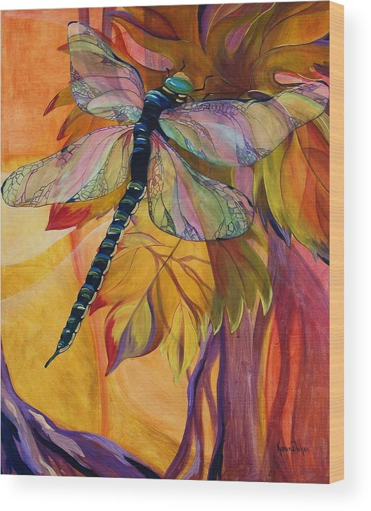Dragonfly Wood Print featuring the painting Vineyard Fantasy by Karen Dukes