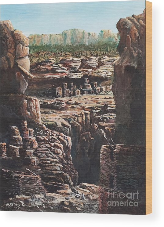 Anasazi Ruins Wood Print featuring the painting Walnut Canyon by John Wise