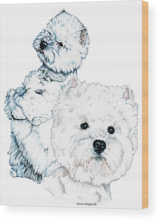 West Highland White Terrier Wood Print featuring the drawing West Highland White Terriers by Kathleen Sepulveda