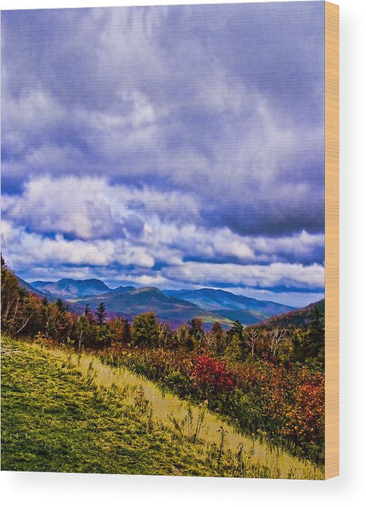 Mountains Wood Print featuring the digital art White Mountains by Ches Black