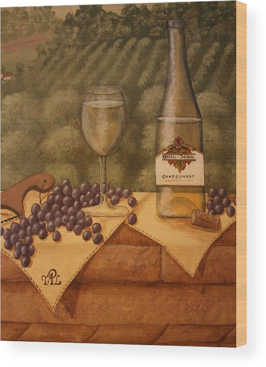 Grapes Wood Print featuring the painting Window Ledge by Sandra Poirier