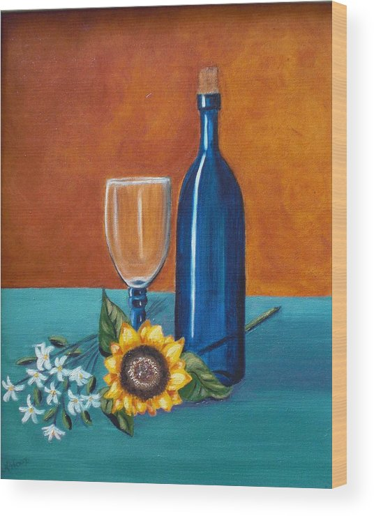 Wine Wood Print featuring the painting Wine And Flowers by Nancy Sisco