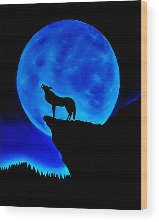 Wolf Wood Print featuring the painting Wolf Howling by Nicole Cris