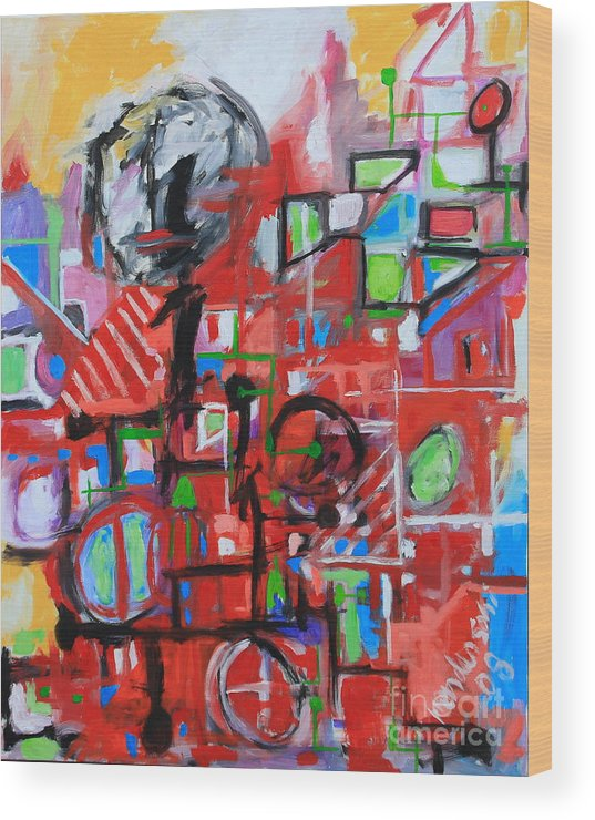 Abstract Wood Print featuring the painting Woman In Red by Michael Henderson