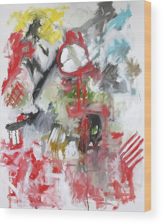 Abstract Wood Print featuring the painting Woman With A Red Comb by Michael Henderson