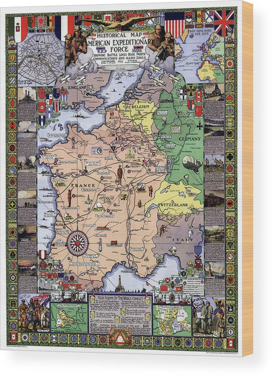 War Wood Print featuring the photograph World War One Historian's Panel by Daniel Hagerman