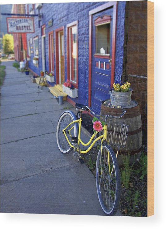 Bicycle Wood Print featuring the photograph Yellow Bicycle Silverton Colorado by George Oze