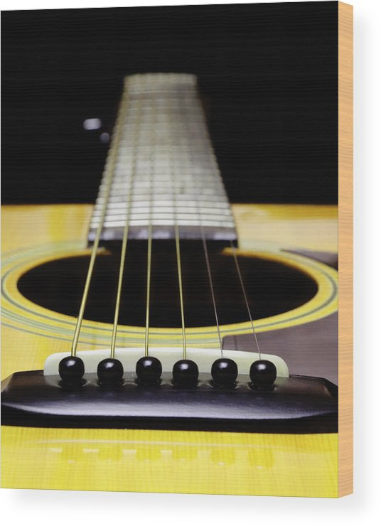 Andee Design Guitar Wood Print featuring the photograph Yellow Guitar 17 by Andee Design