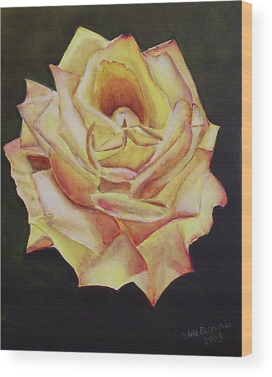 Rose Wood Print featuring the painting Yellow Rose by Silvia Philippsohn
