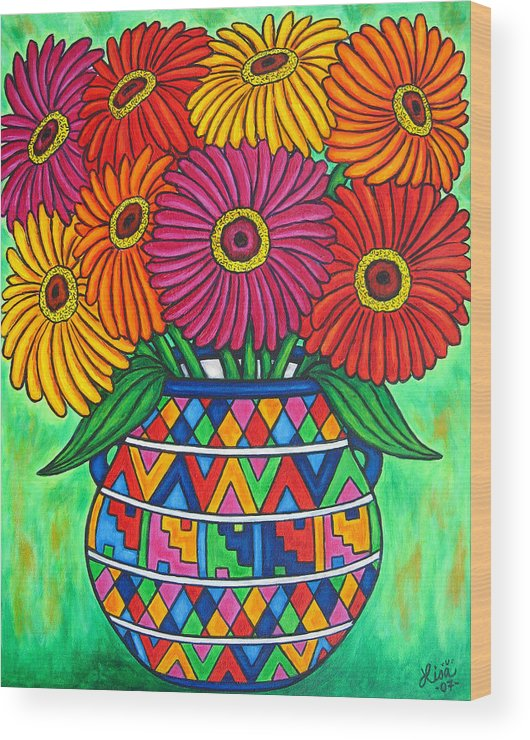 Zinnia Wood Print featuring the painting Zinnia Fiesta by Lisa Lorenz