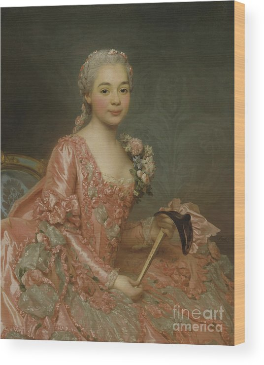 Girl Wood Print featuring the painting Baroness De Neubourg-cromiere by Alexander Roslin