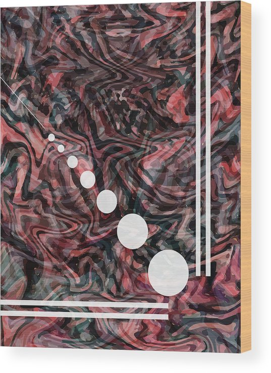 Abstract Wood Print featuring the mixed media Abstract Painting - Flow 2 - Fluid Painting - Red, Black Abstract - Geometric Abstract - Marbling 2 by Studio Grafiikka