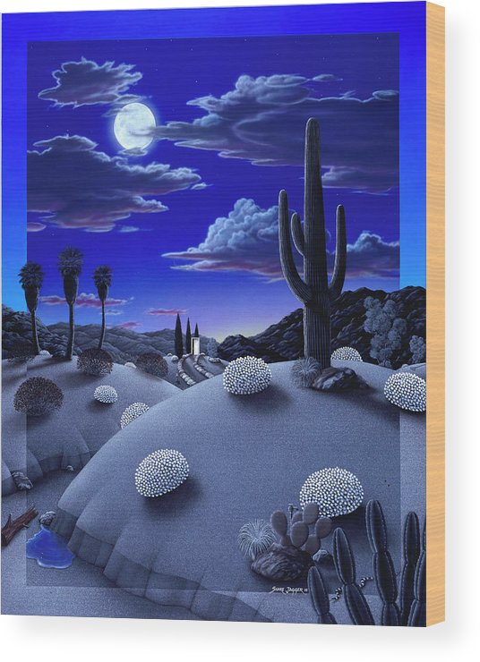 Desert Wood Print featuring the painting After The Rain by Snake Jagger