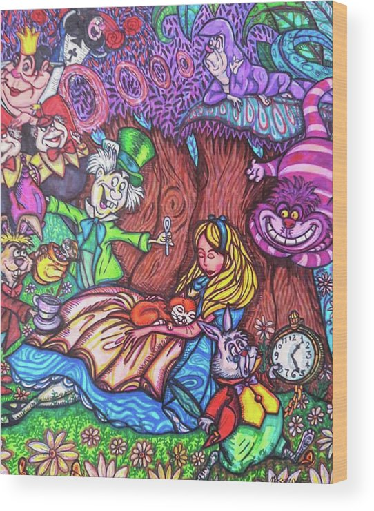 Sharpies Wood Print featuring the drawing Alice In Wonderland by Janine Messenger