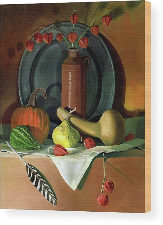 Still Life Wood Print featuring the painting Autumn Still Life by Nancy Griswold