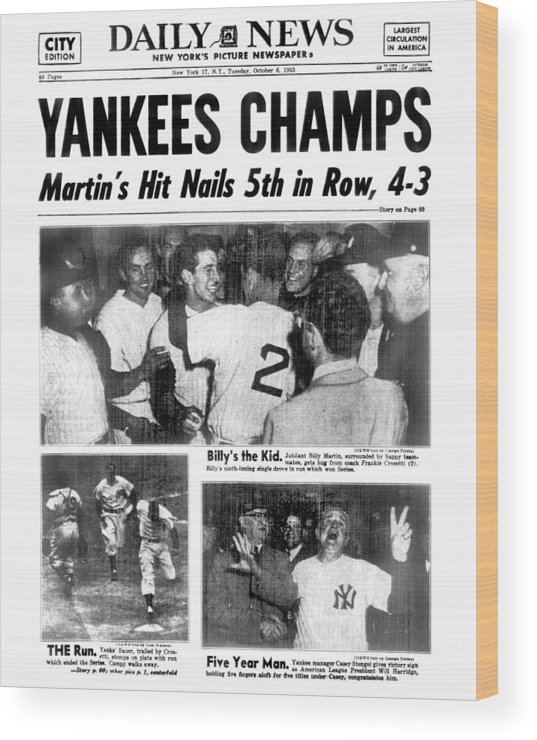 American League Baseball Wood Print featuring the photograph Daily News Back Page Dated Oct. 6, 1953 by New York Daily News Archive