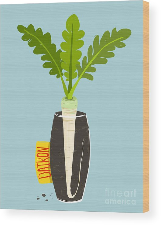 Container Wood Print featuring the digital art Growing Daikon Radish With Green Leafy by Popmarleo