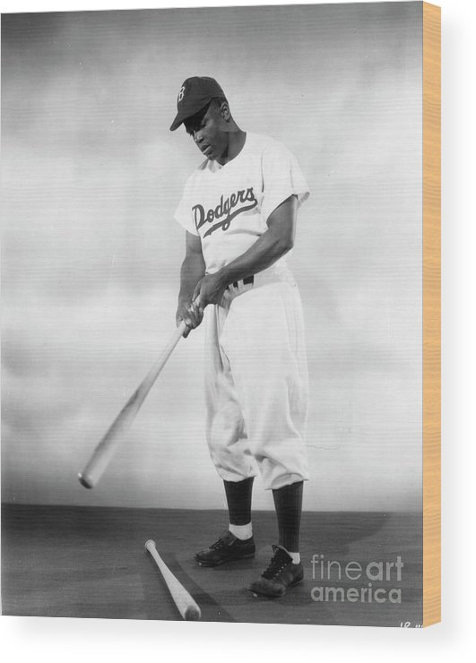 People Wood Print featuring the photograph Jackie Robinson Full Figure Portrait by Transcendental Graphics