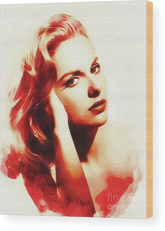 Martha Wood Print featuring the painting Martha Hyer, Vintage Actress by John Springfield