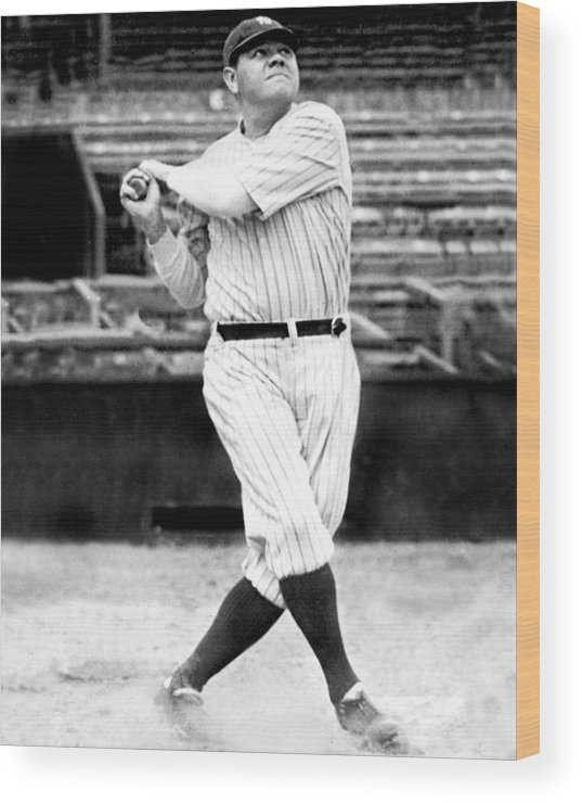 People Wood Print featuring the photograph New York Yankees Babe Ruth Swinging His by New York Daily News Archive