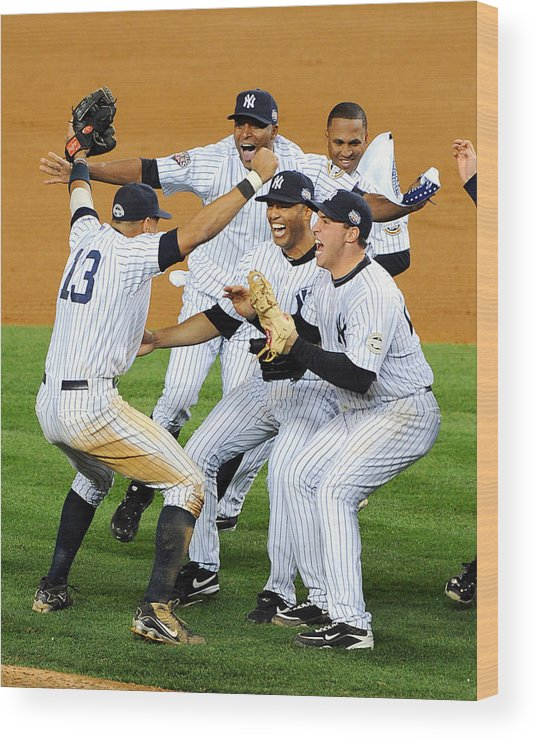 American League Baseball Wood Print featuring the photograph New York Yankees Celebrate 27th World by New York Daily News Archive