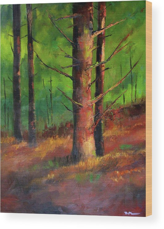 Oregon Wood Print featuring the painting Oregon Pine Forest by Nancy Merkle