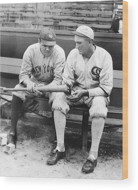 American League Baseball Wood Print featuring the photograph Shoeless Joe Jackson And Babe Ruth by New York Daily News Archive