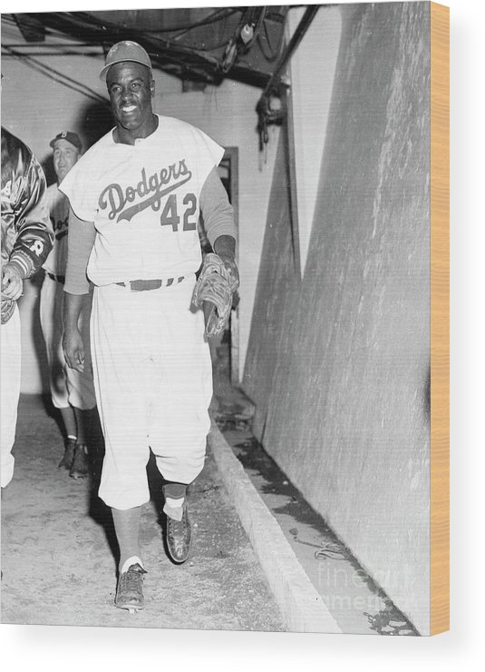 1950-1959 Wood Print featuring the photograph Jackie Robinson by Kidwiler Collection