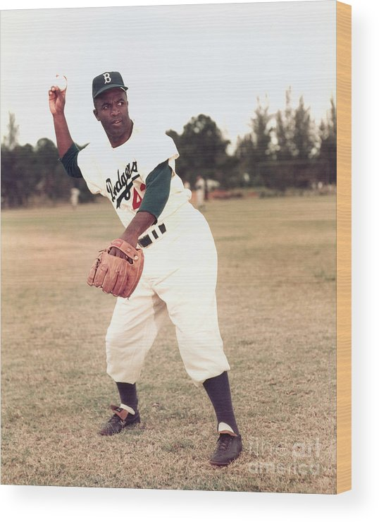 People Wood Print featuring the photograph Jackie Robinson by Kidwiler Collection