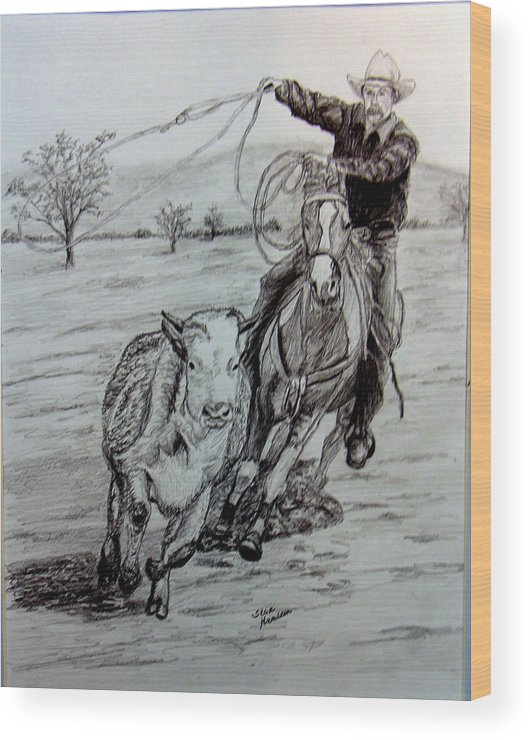Cowboy Wood Print featuring the drawing Ranch Work by Stan Hamilton