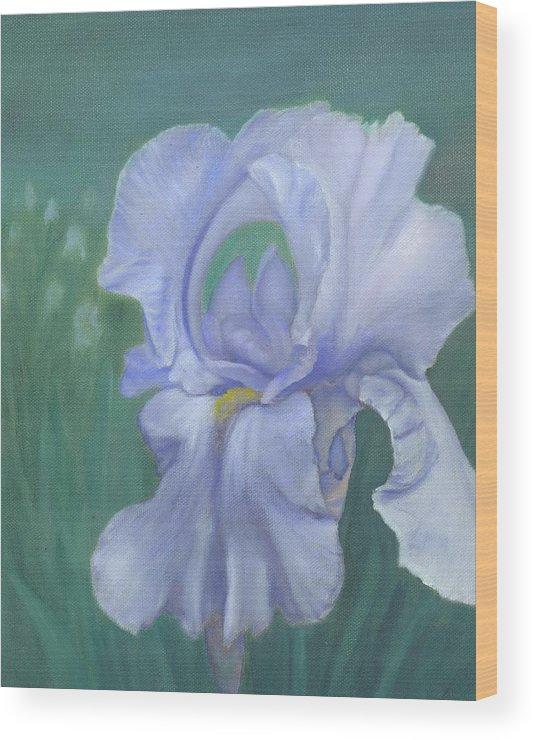 Flowers Wood Print featuring the painting Blue Iris by Laurel Ellis