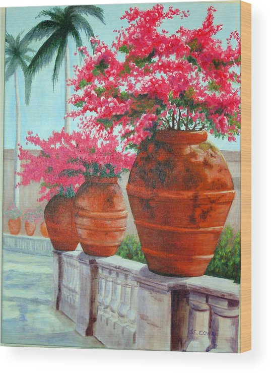 Landscape Wood Print featuring the painting Bougainvillea Pots by SueEllen Cowan