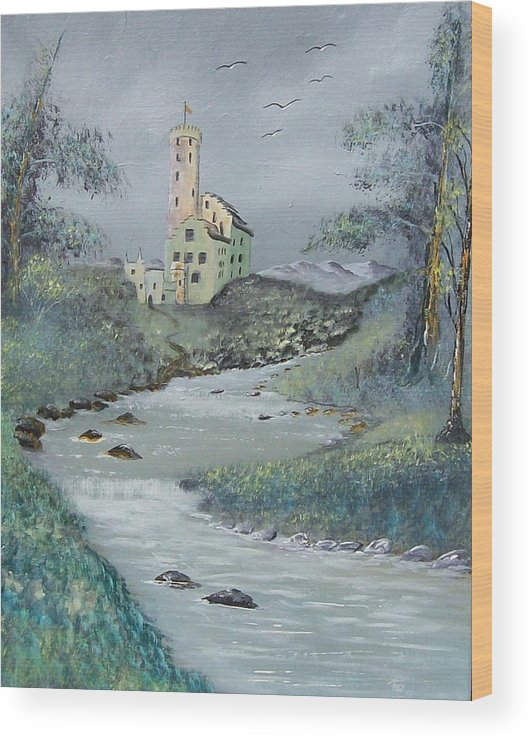 Castle Wood Print featuring the painting Castle By Stream by Tony Rodriguez