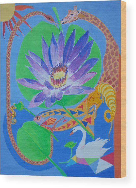 Acrylic Wood Print featuring the painting Love In The Garden Of Eden by Seema Gill