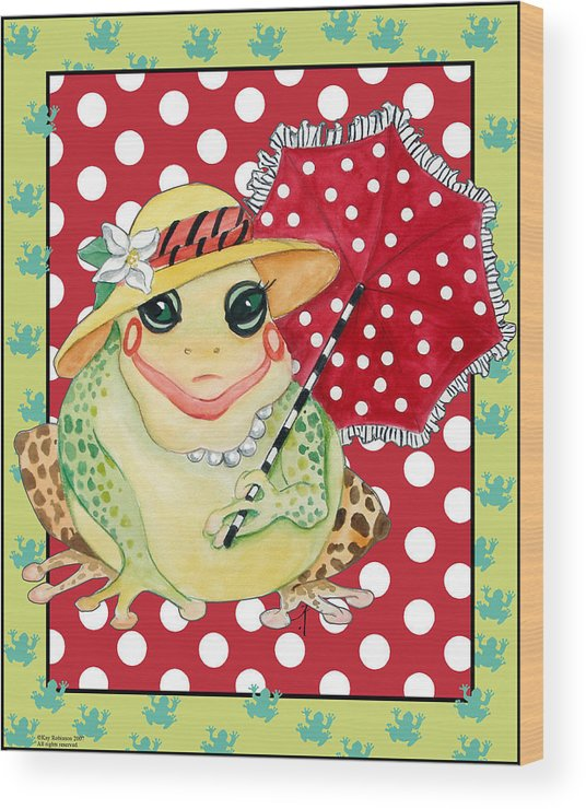 Animals Wood Print featuring the print Miss Belle Frog by Kay Robinson